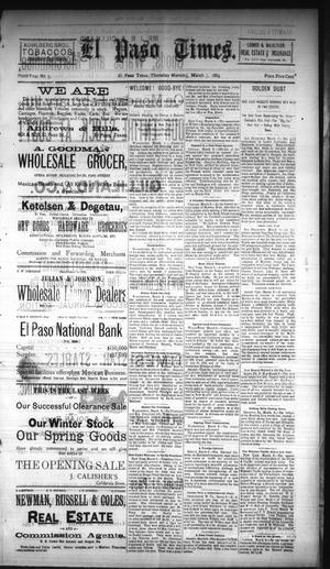 Primary view of object titled 'El Paso Times. (El Paso, Tex.), Vol. NINTH YEAR, No. 5, Ed. 1 Thursday, March 7, 1889'.