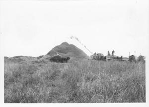 Primary view of object titled '[Men threshing rice. Large rice pile in center of photo.]'.