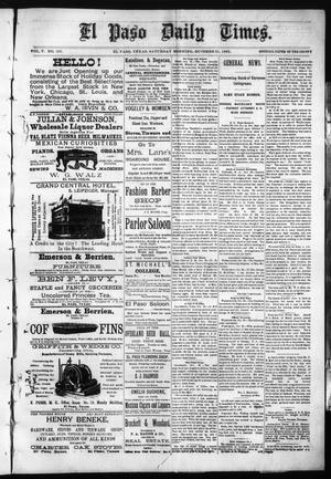 Primary view of object titled 'El Paso Daily Times. (El Paso, Tex.), Vol. 5, No. 157, Ed. 1 Saturday, October 31, 1885'.