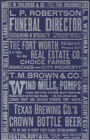 Primary view of object titled 'Directory of the City of Fort Worth 1902-1903'.