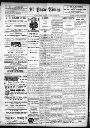 Primary view of object titled 'El Paso Times. (El Paso, Tex.), Vol. SIXTH YEAR, No. 160, Ed. 1 Wednesday, July 7, 1886'.