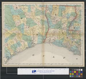 Primary view of object titled '[Map of Southeast Texas, Louisiana, and Western Mississippi]'.
