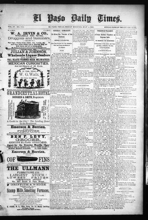 Primary view of object titled 'El Paso Daily Times. (El Paso, Tex.), Vol. 4, No. 318, Ed. 1 Friday, May 1, 1885'.
