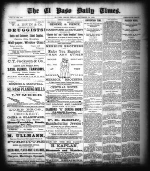 Primary view of object titled 'The El Paso Daily Times. (El Paso, Tex.), Vol. 2, No. 178, Ed. 1 Friday, September 28, 1883'.
