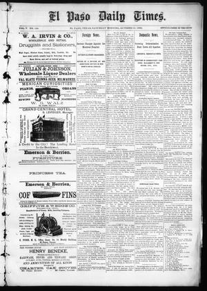 Primary view of object titled 'El Paso Daily Times. (El Paso, Tex.), Vol. 5, No. 139, Ed. 1 Saturday, October 10, 1885'.