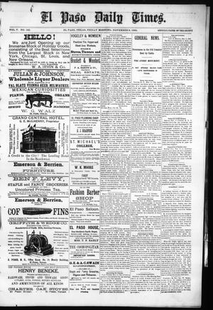 Primary view of object titled 'El Paso Daily Times. (El Paso, Tex.), Vol. 5, No. 162, Ed. 1 Friday, November 6, 1885'.