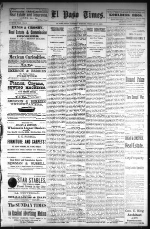 Primary view of object titled 'El Paso Times. (El Paso, Tex.), Vol. Seventh Year, No. 41, Ed. 1 Saturday, February 19, 1887'.