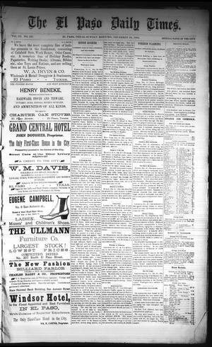 Primary view of object titled 'The El Paso Daily Times. (El Paso, Tex.), Vol. 3, No. 221, Ed. 1 Sunday, December 28, 1884'.
