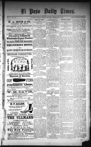 Primary view of object titled 'El Paso Daily Times. (El Paso, Tex.), Vol. 4, No. 270, Ed. 1 Friday, February 27, 1885'.