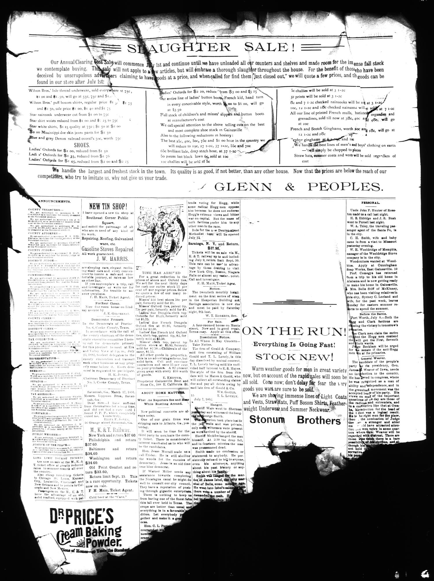 The Daily Hesperian (Gainesville, Tex.), Vol. 13, No. 181, Ed. 1 Saturday, July 9, 1892                                                                                                      [Sequence #]: 3 of 4