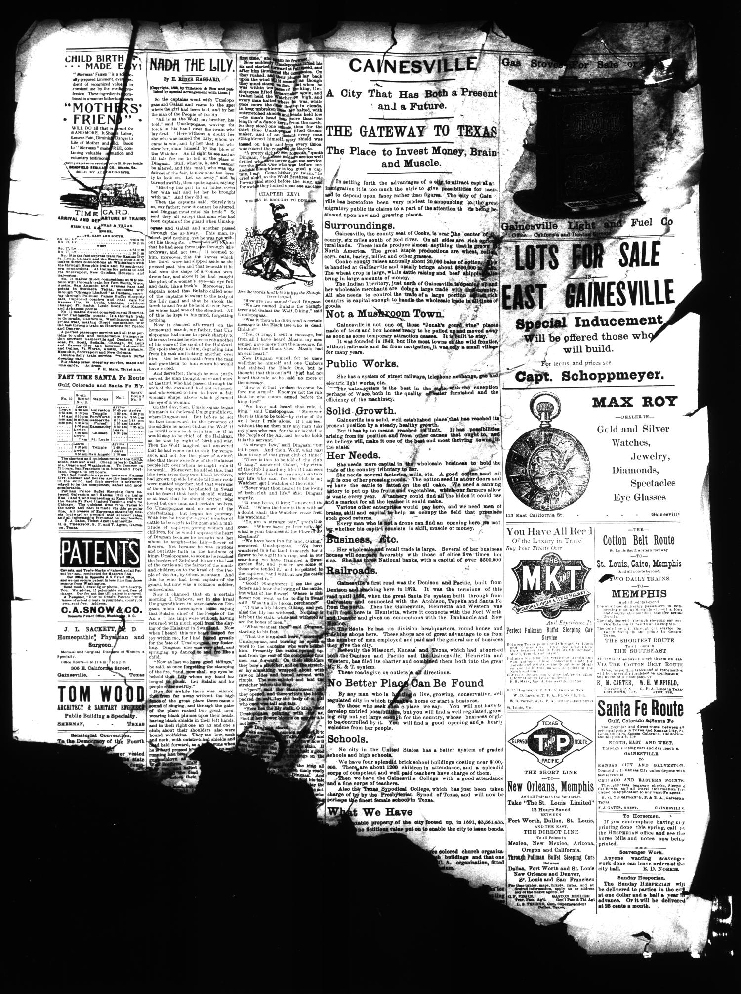 The Daily Hesperian (Gainesville, Tex.), Vol. 13, No. 181, Ed. 1 Saturday, July 9, 1892                                                                                                      [Sequence #]: 4 of 4