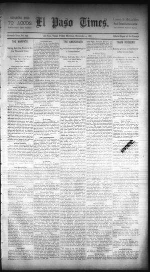 Primary view of object titled 'El Paso Times. (El Paso, Tex.), Vol. Seventh Year, No. 259, Ed. 1 Friday, November 4, 1887'.