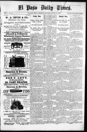 Primary view of object titled 'El Paso Daily Times. (El Paso, Tex.), Vol. 5, No. 105, Ed. 1 Thursday, August 20, 1885'.