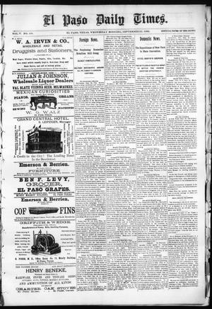 Primary view of object titled 'El Paso Daily Times. (El Paso, Tex.), Vol. 5, No. 134, Ed. 1 Wednesday, September 23, 1885'.
