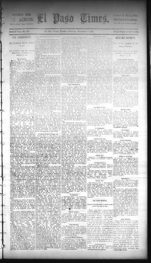 Primary view of object titled 'El Paso Times. (El Paso, Tex.), Vol. Seventh Year, No. 260, Ed. 1 Tuesday, November 8, 1887'.