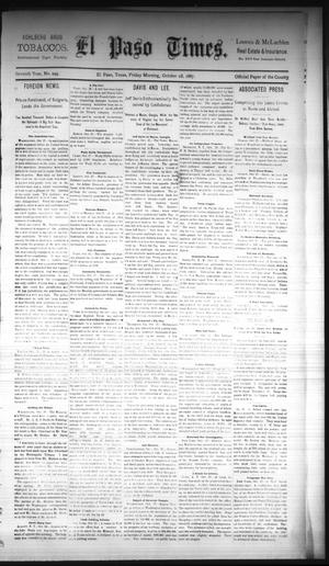 Primary view of object titled 'El Paso Times. (El Paso, Tex.), Vol. Seventh Year, No. 249, Ed. 1 Friday, October 28, 1887'.