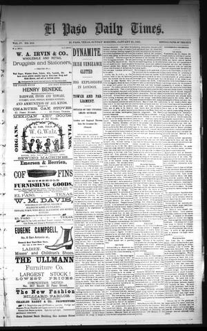 Primary view of object titled 'El Paso Daily Times. (El Paso, Tex.), Vol. 4, No. 243, Ed. 1 Sunday, January 25, 1885'.