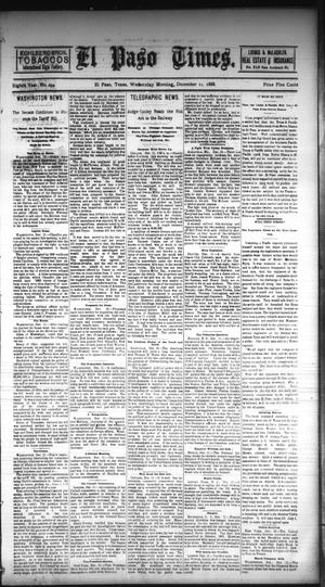 Primary view of object titled 'El Paso Times. (El Paso, Tex.), Vol. EIGHTH YEAR, No. 294, Ed. 1 Wednesday, December 12, 1888'.