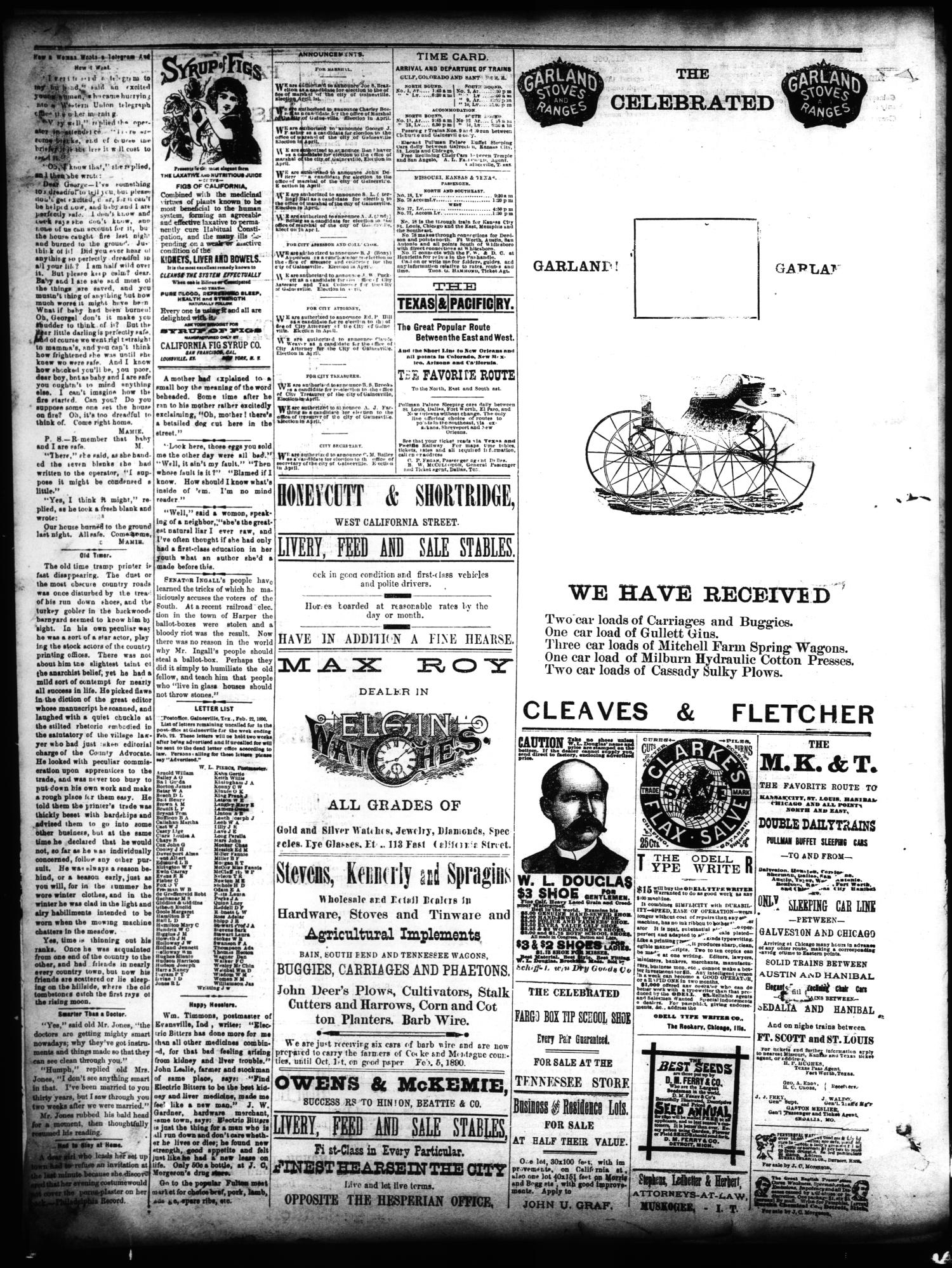 Gainesville Daily Hesperian. (Gainesville, Tex.), Vol. 11, No. 80, Ed. 1 Sunday, February 23, 1890                                                                                                      [Sequence #]: 4 of 4
