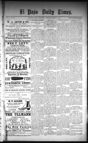 Primary view of object titled 'El Paso Daily Times. (El Paso, Tex.), Vol. 4, No. 279, Ed. 1 Wednesday, March 11, 1885'.