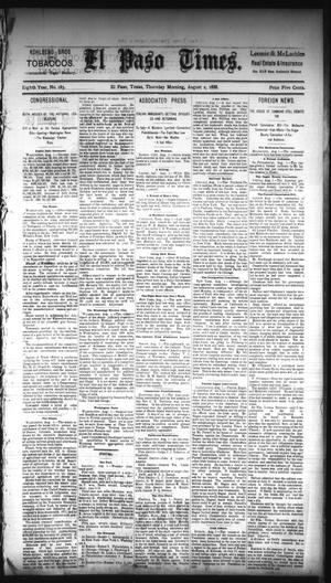 Primary view of object titled 'El Paso Times. (El Paso, Tex.), Vol. EIGHTH YEAR, No. 183, Ed. 1 Thursday, August 2, 1888'.