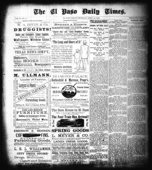 Primary view of object titled 'The El Paso Daily Times. (El Paso, Tex.), Vol. 2, No. 37, Ed. 1 Thursday, April 12, 1883'.
