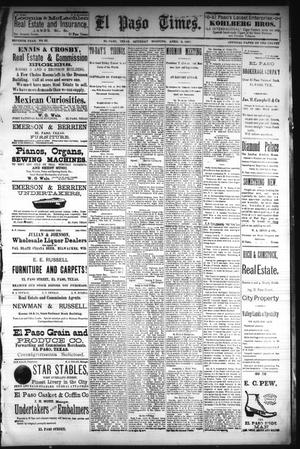 Primary view of object titled 'El Paso Times. (El Paso, Tex.), Vol. Seventh Year, No. 82, Ed. 1 Saturday, April 9, 1887'.