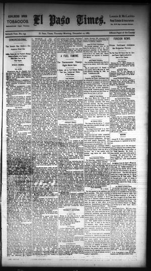 Primary view of El Paso Times. (El Paso, Tex.), Vol. Seventh Year, No. 299, Ed. 1 Thursday, December 22, 1887