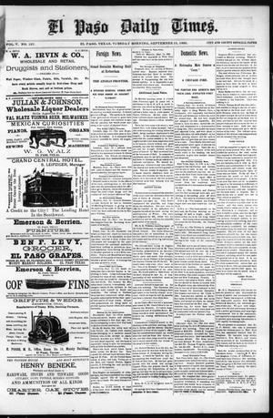 Primary view of object titled 'El Paso Daily Times. (El Paso, Tex.), Vol. 5, No. 127, Ed. 1 Tuesday, September 15, 1885'.