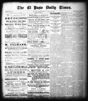 Primary view of object titled 'The El Paso Daily Times. (El Paso, Tex.), Vol. 2, No. 110, Ed. 1 Thursday, July 12, 1883'.