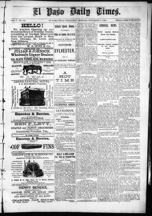 Primary view of object titled 'El Paso Daily Times. (El Paso, Tex.), Vol. 5, No. 166, Ed. 1 Wednesday, November 11, 1885'.
