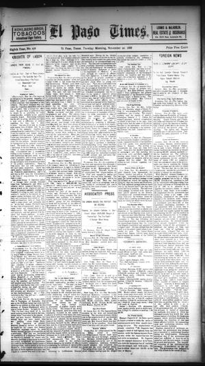 Primary view of object titled 'El Paso Times. (El Paso, Tex.), Vol. EIGHTH YEAR, No. 276, Ed. 1 Tuesday, November 20, 1888'.