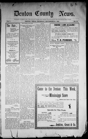 Primary view of Denton County News. (Denton, Tex.), Vol. 7, No. 21, Ed. 1 Thursday, September 22, 1898