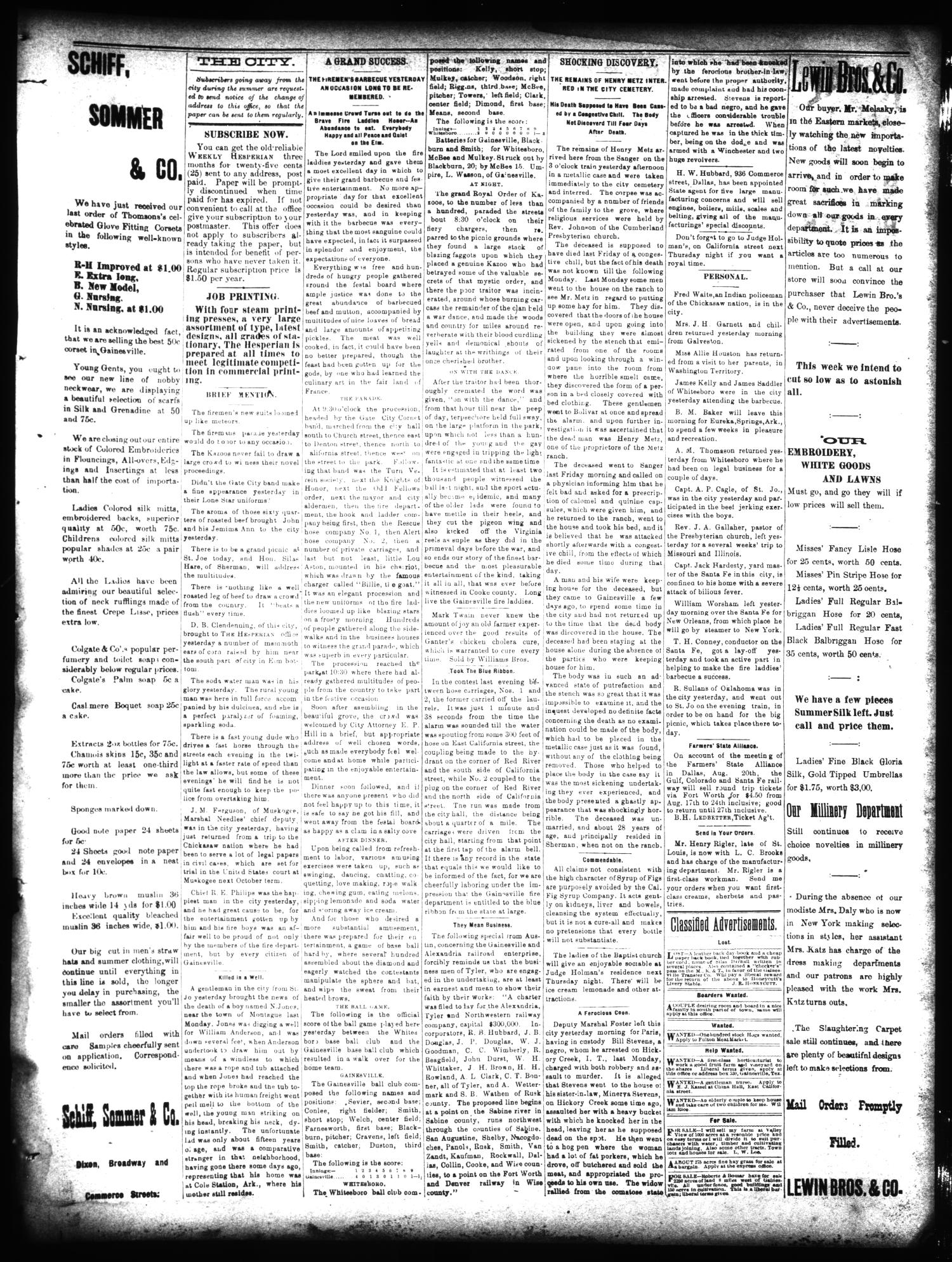 Gainesville Daily Hesperian. (Gainesville, Tex.), Vol. 10, No. 218, Ed. 1 Wednesday, August 14, 1889                                                                                                      [Sequence #]: 3 of 4