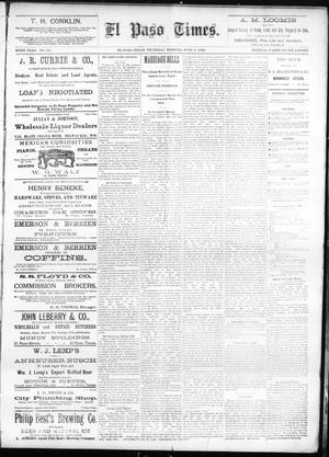 Primary view of object titled 'El Paso Times. (El Paso, Tex.), Vol. SIXTH YEAR, No. 131, Ed. 1 Thursday, June 3, 1886'.