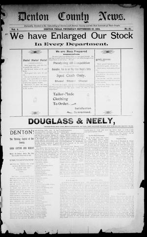 Primary view of object titled 'Denton County News. (Denton, Tex.), Vol. 3, No. 21, Ed. 1 Thursday, September 20, 1894'.