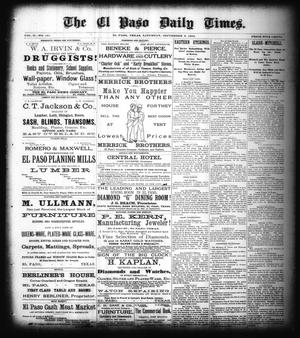 Primary view of object titled 'The El Paso Daily Times. (El Paso, Tex.), Vol. 2, No. 161, Ed. 1 Saturday, September 8, 1883'.