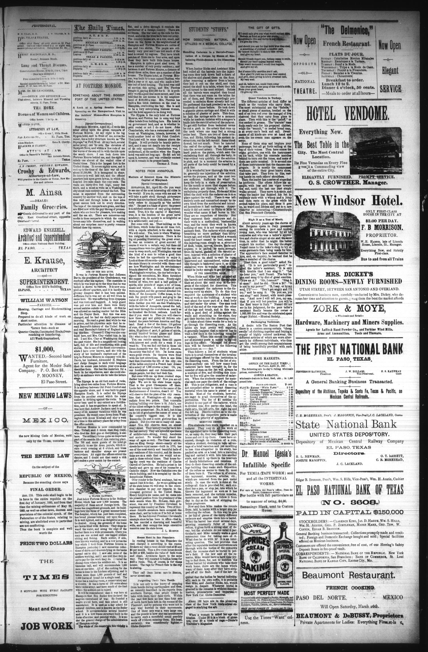 El Paso Times. (El Paso, Tex.), Vol. Seventh Year, No. 101, Ed. 1 Tuesday, May 3, 1887                                                                                                      [Sequence #]: 3 of 4