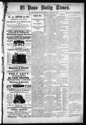 Primary view of object titled 'El Paso Daily Times. (El Paso, Tex.), Vol. 5, No. 108, Ed. 1 Sunday, August 23, 1885'.