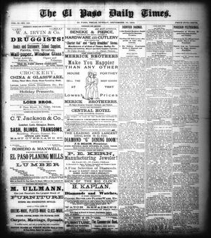 Primary view of object titled 'The El Paso Daily Times. (El Paso, Tex.), Vol. 2, No. 168, Ed. 1 Sunday, September 16, 1883'.