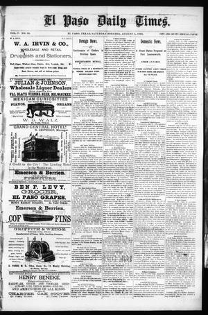 Primary view of object titled 'El Paso Daily Times. (El Paso, Tex.), Vol. 5, No. 88, Ed. 1 Saturday, August 1, 1885'.