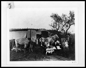 Primary view of object titled 'Picture of Cox and Thornton Families Traveling by Horse and Wagon #1'.