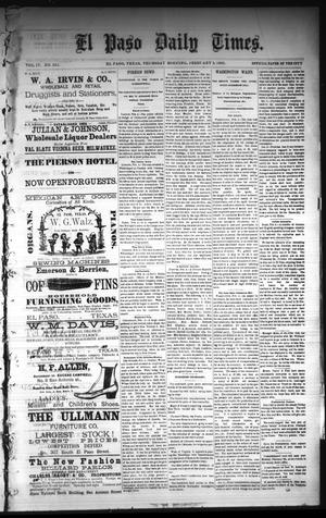 Primary view of object titled 'El Paso Daily Times. (El Paso, Tex.), Vol. 4, No. 251, Ed. 1 Thursday, February 5, 1885'.