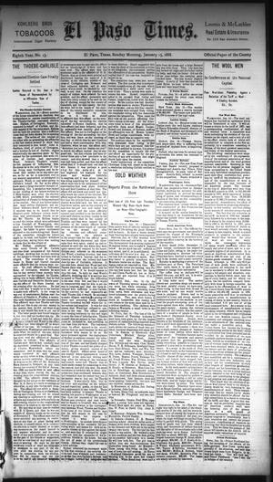 Primary view of object titled 'El Paso Times. (El Paso, Tex.), Vol. Eighth Year, No. 13, Ed. 1 Sunday, January 15, 1888'.
