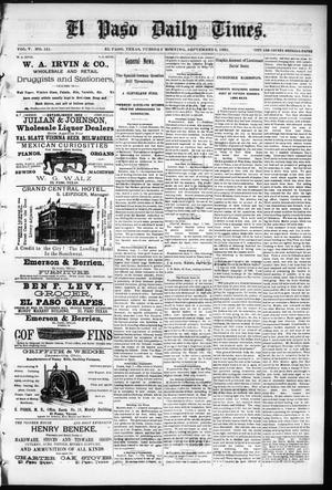 Primary view of object titled 'El Paso Daily Times. (El Paso, Tex.), Vol. 5, No. 121, Ed. 1 Tuesday, September 8, 1885'.
