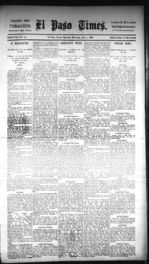 Primary view of object titled 'El Paso Times. (El Paso, Tex.), Vol. EIGHTH YEAR, No. 133, Ed. 1 Saturday, June 2, 1888'.
