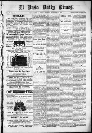 Primary view of object titled 'El Paso Daily Times. (El Paso, Tex.), Vol. 5, No. 168, Ed. 1 Friday, November 13, 1885'.