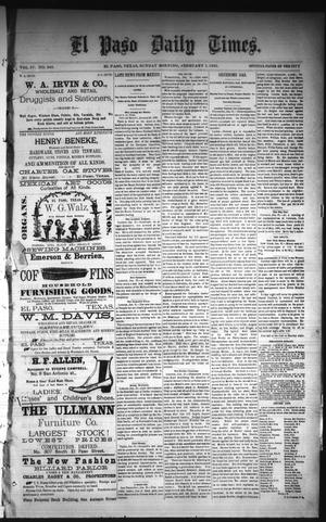 Primary view of object titled 'El Paso Daily Times. (El Paso, Tex.), Vol. 4, No. 248, Ed. 1 Sunday, February 1, 1885'.