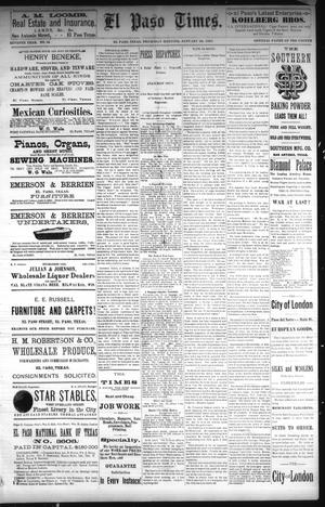 Primary view of object titled 'El Paso Times. (El Paso, Tex.), Vol. Seventh Year, No. 16, Ed. 1 Thursday, January 20, 1887'.