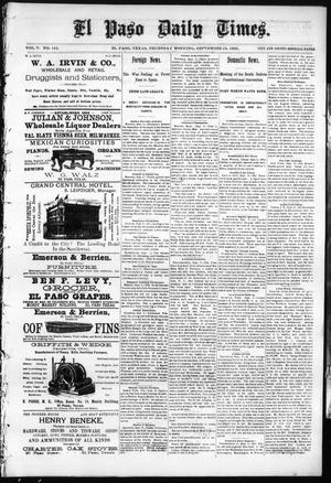 Primary view of object titled 'El Paso Daily Times. (El Paso, Tex.), Vol. 5, No. 123, Ed. 1 Thursday, September 10, 1885'.